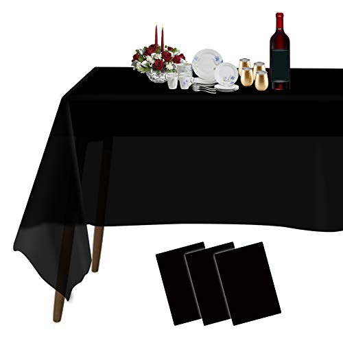 Plastic Tablecloths for Rectangle Tables 3 Pack 54' x 108' Party Table Cloths Disposable for 6 to 8 Foot Tables Indoor or Outdoor Parties Birthdays Weddings Christmas Anniversary Buffet Table (Black)