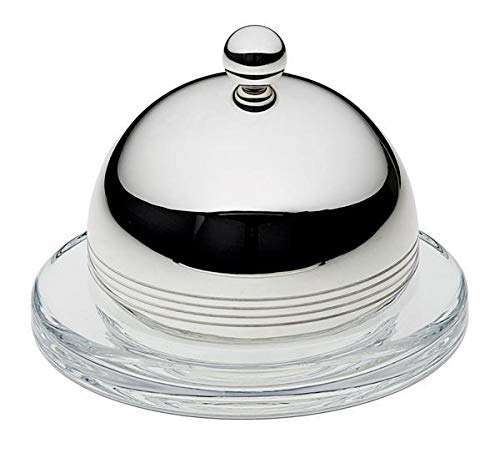 Ercuis, Elegance Collection Regards Individual Glass Butter Dish, Silver-Plated Cover