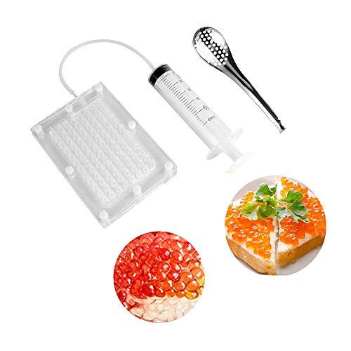 Kaviar Kugel-Werkzeug, Kaviar Maker Kit, Spherification Dropper Molecular Gastronomy Kit mit Löffel & Spritze für Molekulare Gastronomie 100 Loch