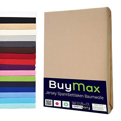 Buymax Spannbettlaken 180x200-200x200 cm Spannbetttuch Bettlaken 100% Baumwolle Jersey Bettbezug für Matratzen bis 25 cm Steghöhe, Beige Sand
