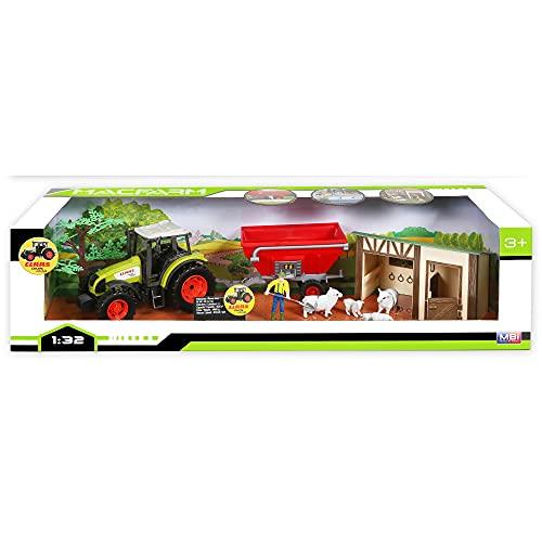 STARLUX–Coffret Tractor Claas Celtis 456con Remolque, ovejas y Muchos Accesorios–Gamme Granja–1: 32E