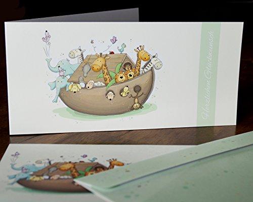 Glückwunschkarten für Taufe und Geburt/Taufkarte mit niedlichem ARCHE NOAH Motiv inklusive Umschlägen (1 Karte und 1 Umschlag)