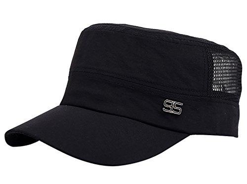 Unisex Flat Top Cadet Cap Military Army Castro Patrol Sun Hat Vintage Elastic Black