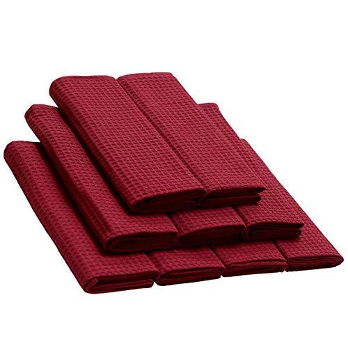 Daloual 9-delige set katoenen doeken in donkerrood, kwaliteitsvaatdoek in set, van 100% katoen, met wafelpique-geweven patroon, grootte: 70x50 cm, poetsdoeken, polijstdoeken, handdoeken