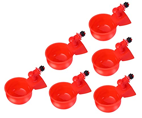 XUYUAN 6 Pack Auto-Fill Chicken Watering Cup, Poultry Watering Feeder Cups Auto Watering Drinker for Chicken Duck Geese and More (Red)