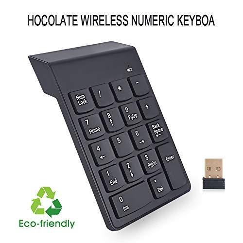 WYSSS Drahtlose numerische Tastatur Drahtlose 2,4-G-Tastatur aus Schokolade USB-Rechner Computer Mini Tragbares ultradünnes Silikon Ergonomisch gestalteter Umweltschutz und energiesparende Tas