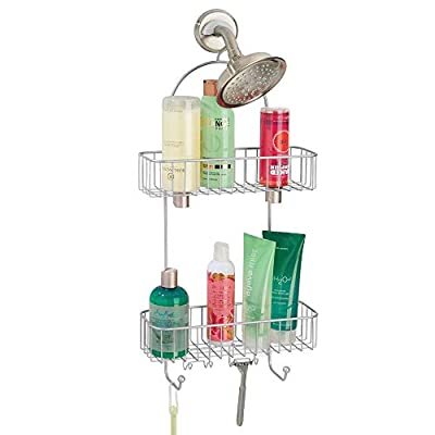 mDesign Wide Metal Bathroom Tub & Shower Caddy, 2 Tier Hanging Storage Organizer Center with Built-In Hanging Hooks and Large Shelf Baskets for Shampoo, Conditioner, Body Wash, Razors, Loofahs, Chrome