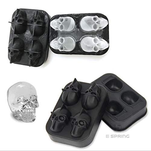 VOLOOP 3D Skull Ice Mold Diamond Ice Cube Maker Ice Cube Trays with Food Grade Silicone for Whiskey Cocktails Ice Cream Cake Set of 2