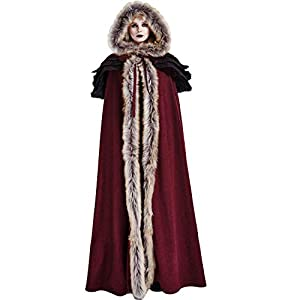 Punk Rave Gothic Winter Fur Cloaks Warm Thick Hooded Cape Coats for Women