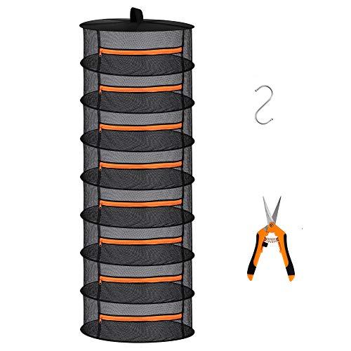 Desy & Feeci 8-lagiges Netz-Abtropfgestell zum Aufhängen von Kräutern, Trockennetz mit orangefarbenen Reißverschlüssen