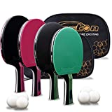 Senston Ping Pong Paddles 4 Pack/5-Ply Premium Table Tennis Paddles with Advanced...
