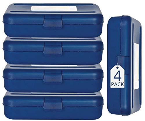 1InTheOffice Pencil Box, Translucent Blue, Plastic School Pencil Boxes, 4 Pack