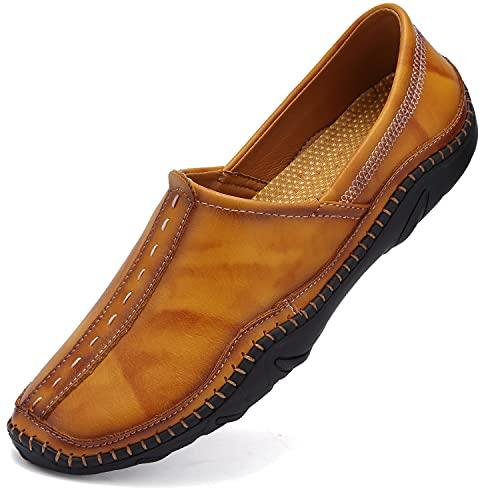 VTASQ Mocassini Uomo Pelle Estivi Casual Eleganti Slip On Scarpe Comfort da Guida Scarpe da Barca Classic Loafers Giallo 46EU