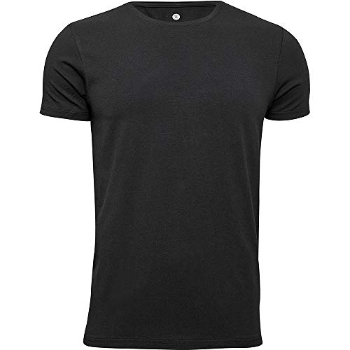 jbs of Denmark - Hombres - Camiseta con Cuello Redondo de Viscosa de bambú - Negro - M