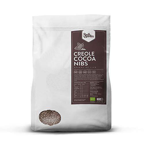 Grué de Cacao Cru BIO 1 Kg   SOUTH GARDEN   Fèves de Cacao Cru   Qualité supérieure   Goût délicat   Antioxydant et aphrodisiaque   Végétalien   Gluten, lactose, sans sucre ajouté