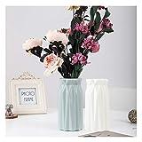 HASPINH 2 Jarrones para flores irrompibles geométricos floreros decorativos, para salón, mesa, hogar, oficina, decoración de flores artificiales (verde + blanco)