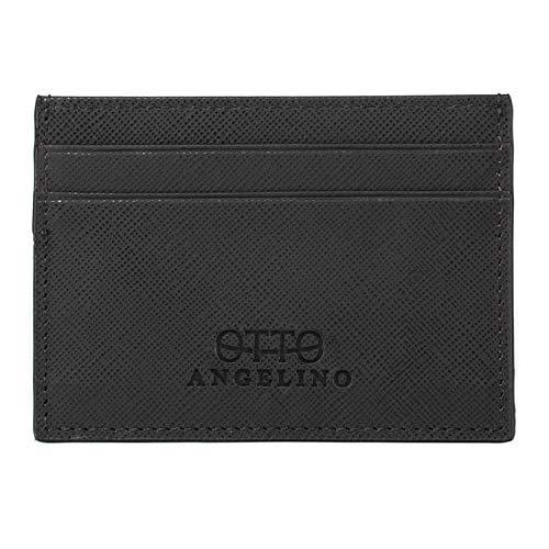 Otto Angelino Genuine Leather Wallet - Bank Cards, Money, Driver's License, RFID - Unisex (Plain Black)