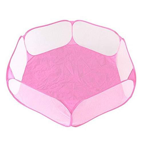 LFOZ Cama para mascotas de animales pequeños, transpirable, valla plegable, portátil, tienda de campaña, parque de juegos para hámster, gato, conejillo de indias (color: rosa)