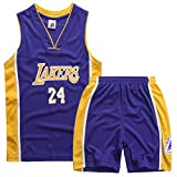 Enfants Basketball Maillots Kobe 24# Lakers Jersey Uniforme de Basketball Shorts de Basket...