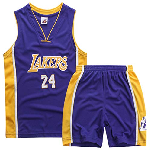 Kids Kobe 24# Lakers Basketball-Anzug Jerseys Basketballtrikot Sport Swingman Jerseys Basketball Uniform T-Shirt und Kurze Hose