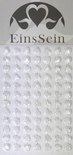 EinsSein 84x Aufkleber Sticker selbstklebend 5,5mm Herz Diamant Weiss Glitzersteine Strasssteine Einladungskarten