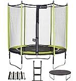 Kangui - Trampoline de Jardin 244 cm + Filet de sécurité + échelle + bâche de Protection + kit d'ancrage JUMPI Vert/Noir 250