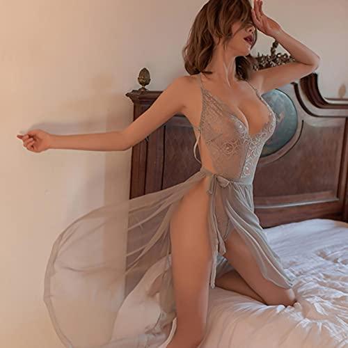 XYQQ Mujeres Sexy Ver a través de la Ropa Interior de Alta Gama de Malla Babydoll Chemise Porno Ropa Interior Sexy Vestido Transparente Haltter Lencería erótica
