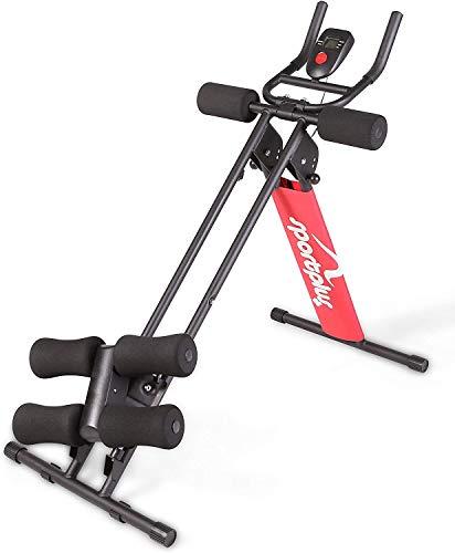 SportPlus Bauchtrainer mit flexibler Knieauflage für schräges Bauchmuskeltraining - 3 Schwierigkeitsstufen, Trainingscomputer, klappbar, Sicherheit geprüft, SP-ALB-011-X