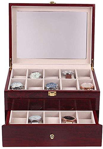 T.T-Q 20 Reloj de Pintura de Doble Capa Caja de Madera Cajas para Relojes Caja de presentación de Almacenamiento Caja de joyería de Regalo de cumpleaños 29 * 21 * 15,5 cm