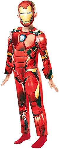 24costumes Iron Man Kostüm | 2-teilig: Overall mit Muskeln aus Schaumstoff & Maske | Kinder & Jugendliche: Größe: L (122-128)