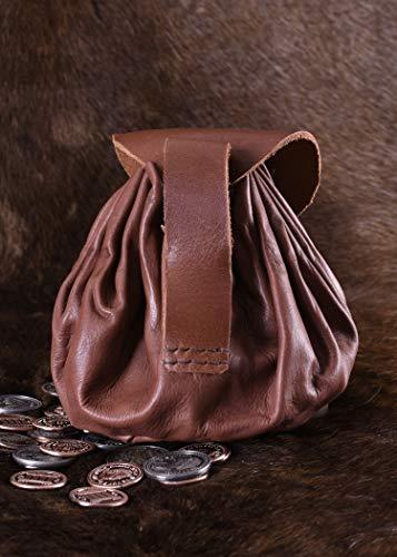 Geldbeutel mit Hornknopf, rotbraun Lederbeutel, groß Ledertasche – Wikinger – LARP – Mittelalter - 4