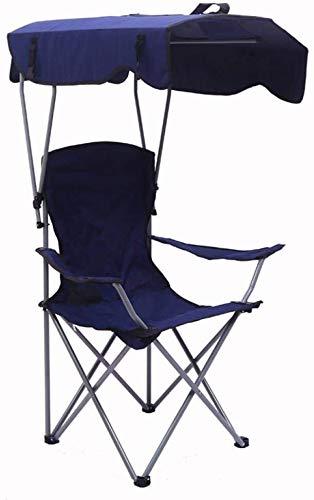 Yyl Angeln Campingstühle mit Schirm Canopy Folding Beach Chair leichten, tragbaren Gartenstuhl Meer Camping Festivals Garten Caravan Reisen (Color : Blue)