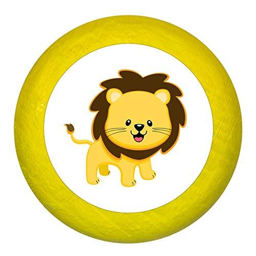 """Kommodengriff""""Löwe"""" gelb Holz Buche Kinder Kinderzimmer 1 Stück wilde Tiere Zootiere Dschungeltiere Traum Kind"""
