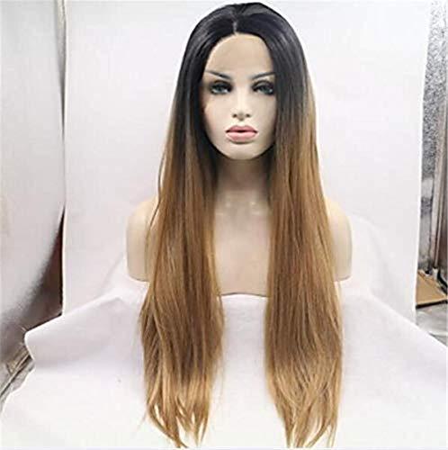 Perruque Synthétique Avant De Lacet, Cheveux Raides en Couches, Cheveux Raides, Densité 150% Cheveux Synthétiques Mesdames Or/Perruque Noire, Mesdames Moyenne Longue Avant De Lacet Or