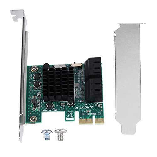 Kafuty SATA 3.0 Erweiterungskarte 4-Port PCIE auf SATA 3.0 Erweiterungscontrollerkarte Adapter 6G, Geeignet für Windows XP / 2003 / Vista / Win7 / Win8 / Win10 (32/64 Bit)
