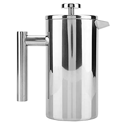 Bewinner Press Coffee Pot, French Press Coffee Maker Double Walled Stainless Steel Coffee Maker French Press Tea Pot with Filter (1000ML)