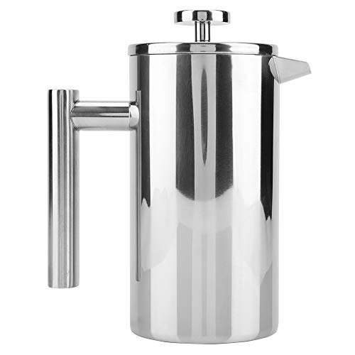 Junluck Doppelwandiger, haltbarer französischer Pressmacher, verbrühungsfreie Kaffeekanne, Silberne Isolierung für das Café für zu Hause(800ML)