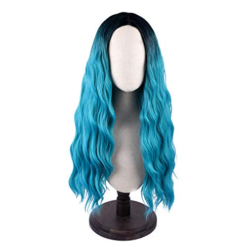 SEIKEA Long Blue Wig Curly Hair with Root Color Ombre 28 Inch Natural Looking Cosplay Outfit