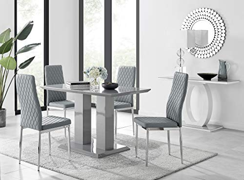Imperia 4 Modern Grey High Gloss Dining Table And 4 Stylish Contemporary Milan Dining Chairs Set (Dining Table + 4 Grey Milan Chairs)