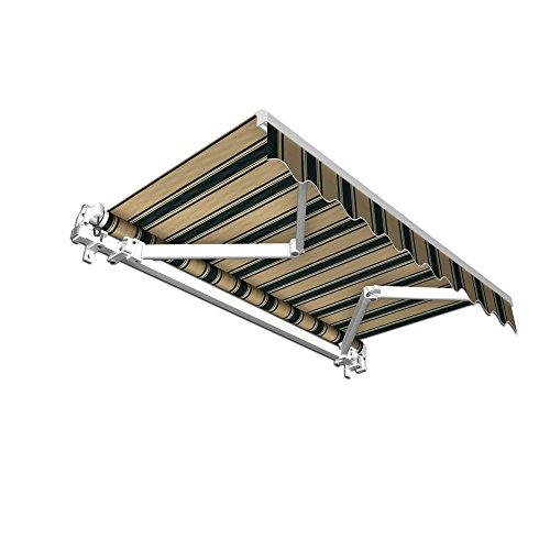 paramondo Gelenkarmmarkise Basic Balkonmarkise Sichtschutz für Terrasse, 250 x 150 cm (Breite x Ausfall), Braun-Grün Multistreifen