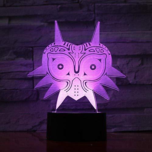 3D-Nachtlicht, 3D-USB-Lampe, Majoras-Maske, kreatives 7-farbwechselndes LED-Nachtlicht, Bürodekoration