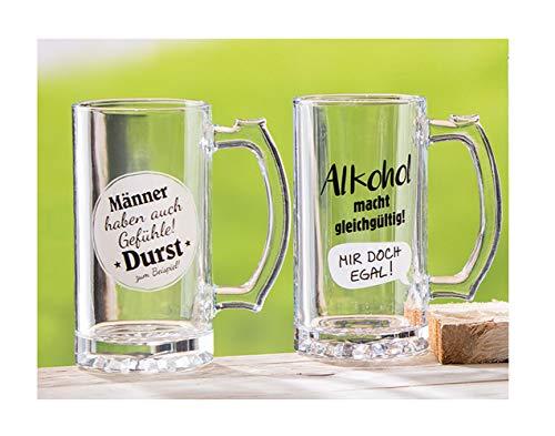 Handwerk - Juego de jarras de Cerveza (2 Unidades, con Frases Divertidas para Hombres, también para Sentimientos y Alcohol, 400 ml)