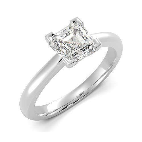 BuyFineDiamonds - 950_Platin Platin Asscherschliff Feines Weiß +/Top Wesselton (F) Diamant