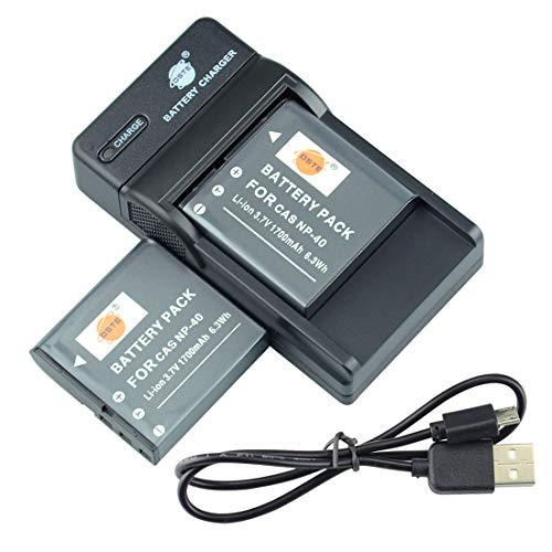 DSTE NP-40 - Batería y cargador compatible con Casio Exilim EX-FC150 EX-FC150BK EX-FC150RD EX-FC160S EX-Z400 (2 unidades)
