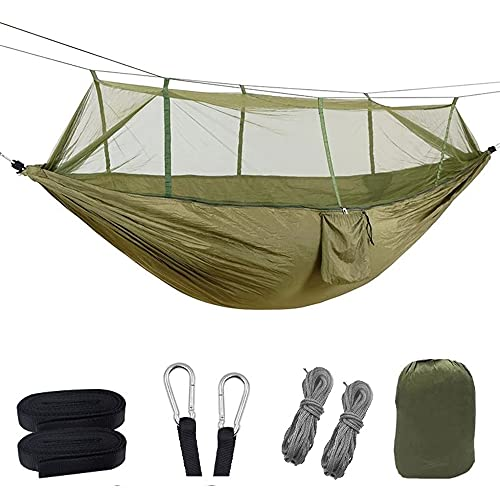 YGXS Mosquito Net Camping Hammock, Portable Travel Windproof Anti-Mosquito 2 People Swing Sleeping Hammock with 2 Lanyards for Hiking Backpack Beach Garden