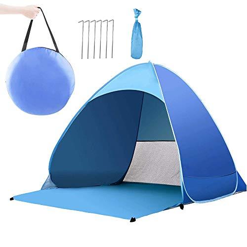 YLX Portable Beach Zelt, Pop up Strandmuschel Tragbares Strand-Zelt UV Schutz 50 für 2-3 Person Einschließlich Tragetasche und Zeltpflöcke Tragbar Wurfzelt für Familie, Strand, Garten, Camping