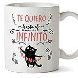 MUGFFINS Taza San Valentín (Te quiero) - Te quiero infinito - Regalos Originales y Divertidos de Aniversario para Novios, Enamorados, Pareja.