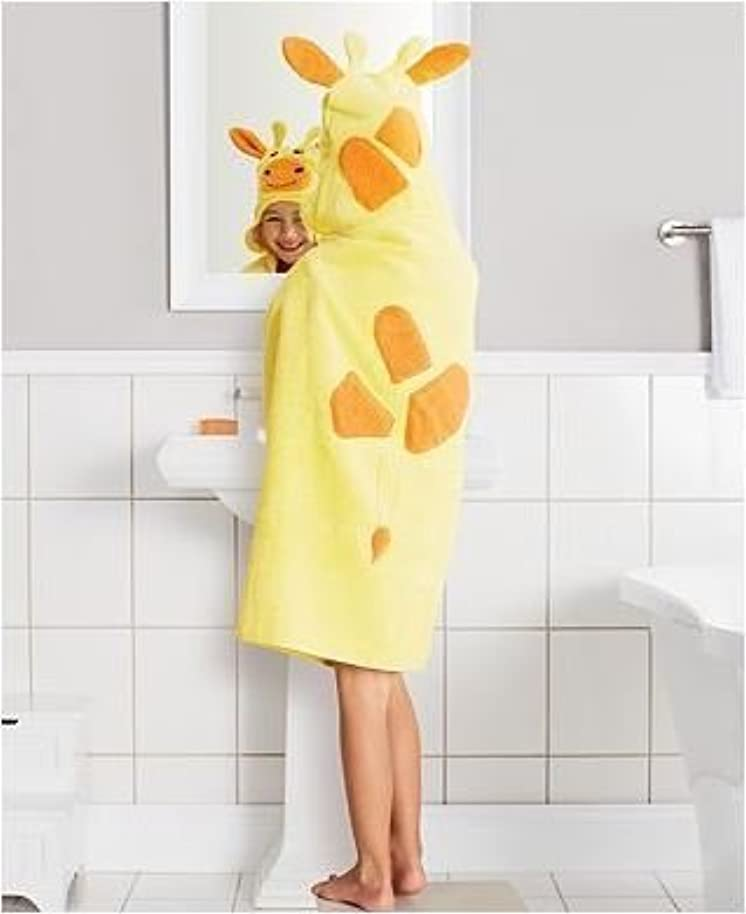 Childrens Hooded Bath Towel Yellow Giraffe 25 x 50 by Jumping Beans