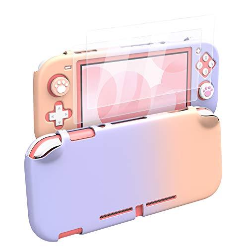 MoKo Kompatibel mit Nintendo Switch Lite Hülle, Switch Lite Tasche Case mit 2 HD Klar Schutzfolie und 4 Joystick Kappen, rutschfest Stoßfest Schutzhülle Zubehör Set für Nintendo - Rosa & Lila
