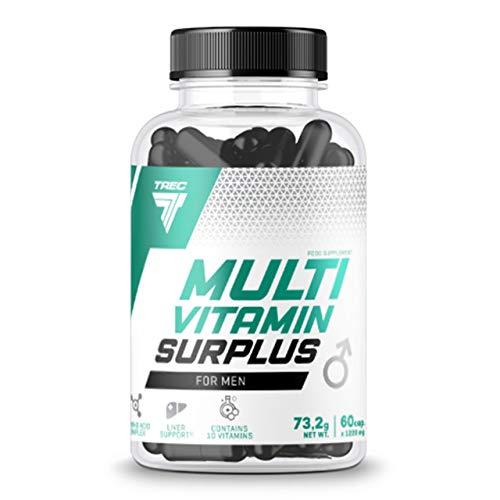 Trec Nutrition Multivitamin Surplus for Men Paquete de 1 x 60 Cápsulas - Complejo de Vitaminas - Extracto de Semilla de Cardo Mariano - Alcachofa - Saw Palmetto - Piperina - Aminoácido